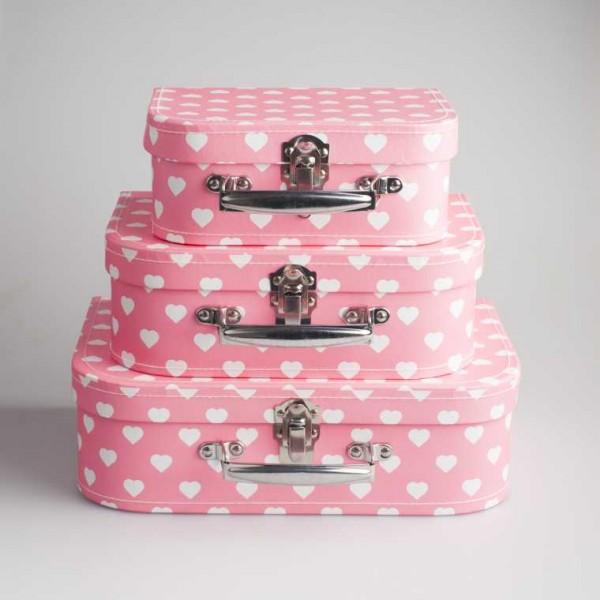 Koffersetje pastel (roze met witte hartjes)