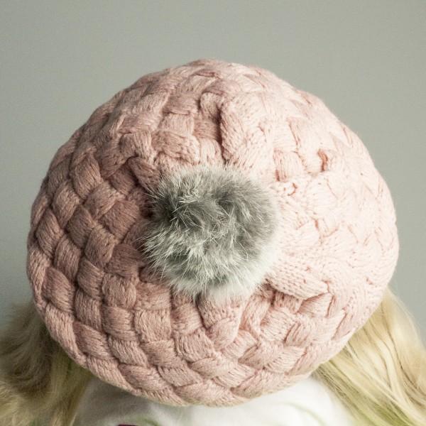 Gebreide baby muts (roze)